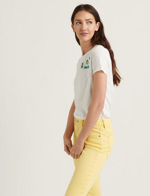 EMBROIDERED FRUIT TEE, LUCKY WHITE