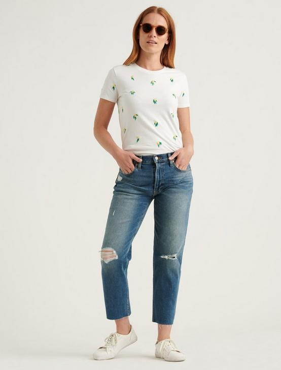 EMBROIDERED LEMON TEE, LUCKY WHITE, productTileDesktop