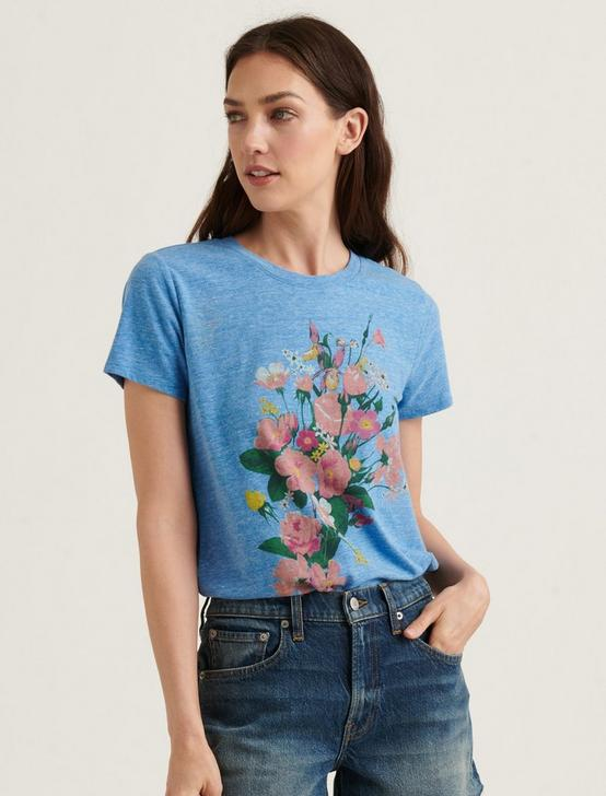 MULTI COLOR BOUQUET TEE, #40103 MONACO BLUE, productTileDesktop