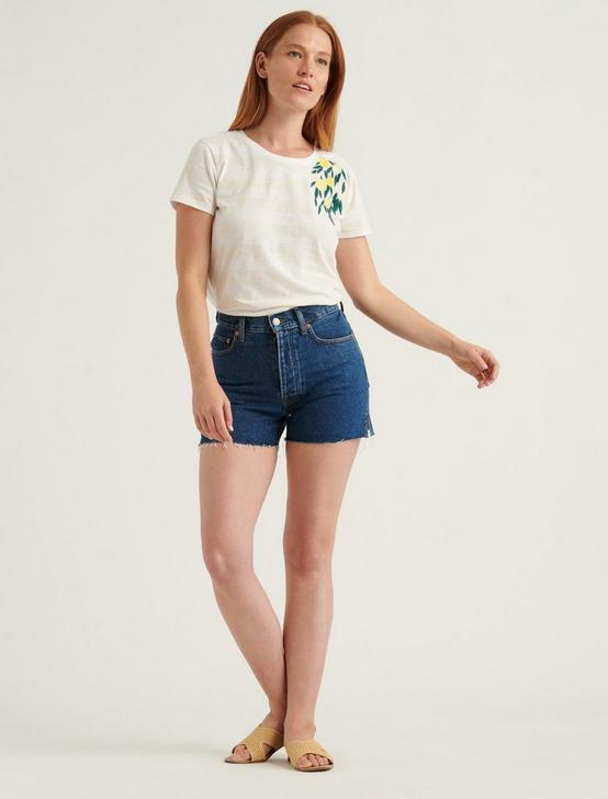 EMBROIDERED LEMON TEE, OATMEAL HEATHER, productTileDesktop