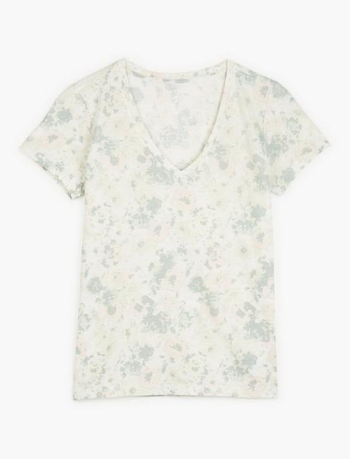 PRINTED ESSENTIAL V-NECK TEE, NATURAL MULTI