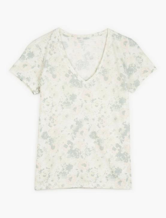 PRINTED ESSENTIAL V-NECK TEE, NATURAL MULTI, productTileDesktop