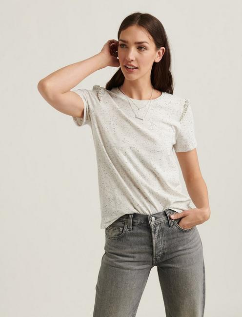 ESSENTIAL NEP RUFFLE CREW TEE, HEATHER GREY NEPS
