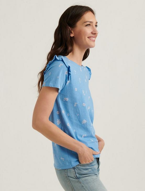 ESSENTIAL FLORAL RUFFLE CREW TEE, BLUE MULTI, productTileDesktop