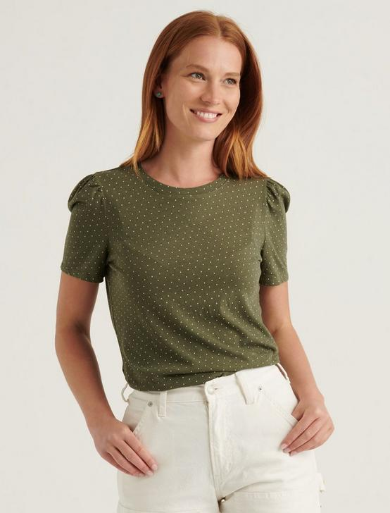 ESSENTIAL PRINTED PUFF SLEEVE TEE, GREEN MULTI, productTileDesktop
