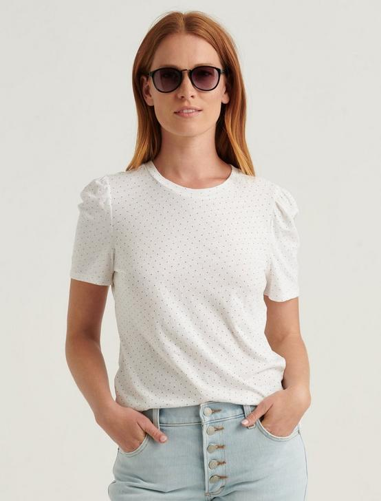 ESSENTIAL PRINTED PUFF SLEEVE TEE, WHITE MULTI, productTileDesktop