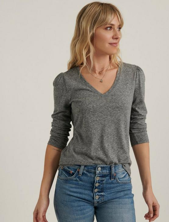 PUFF SLEEVE V-NECK TEE, HEATHER GREY, productTileDesktop
