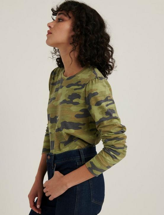 CAMO PUFF SLEEVE TEE, GREEN MULTI, productTileDesktop