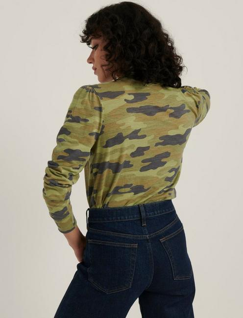 CAMO PUFF SLEEVE TEE, GREEN MULTI