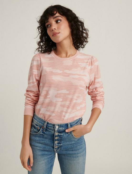 CAMO PUFF SLEEVE TEE, PINK MULTI, productTileDesktop