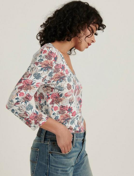 PRINTED PUFF SLEEVE V-NECK TEE, MULTI, productTileDesktop