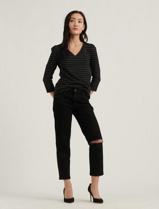 STRIPE PUFF SLEEVE V-NECK TEE, BLACK WHITE STRIPE, productTileDesktop
