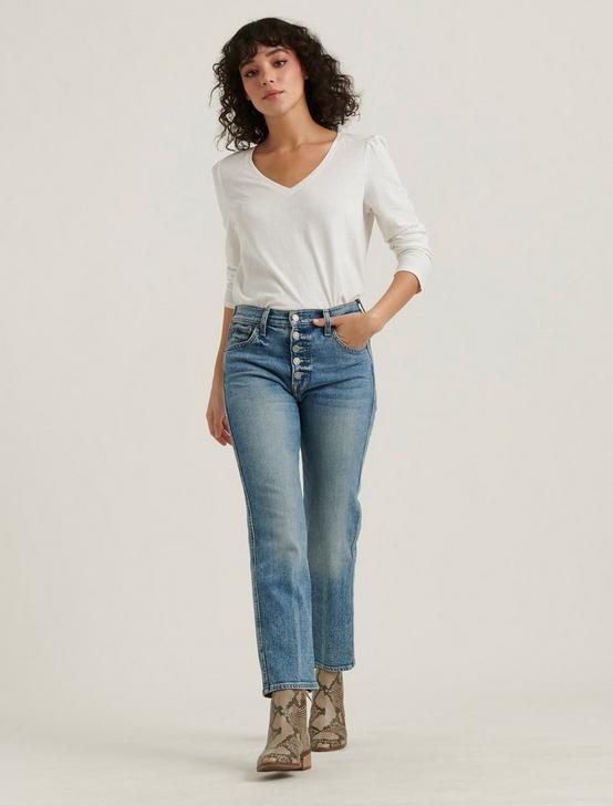 PUFF SLEEVE V-NECK TEE, LUCKY WHITE, productTileDesktop