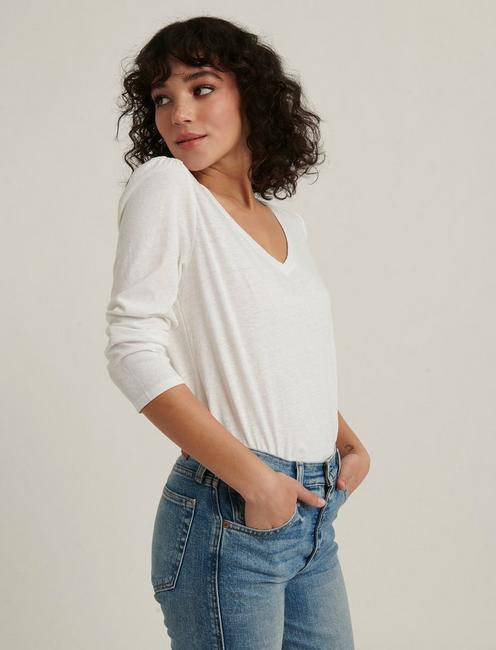 PUFF SLEEVE V-NECK TEE, LUCKY WHITE