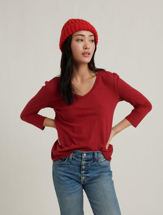 PUFF SLEEVE V-NECK TEE, SCOOTER RED, productTileDesktop