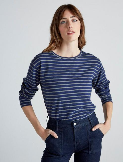 Lucky Brand Womens Short/  Embroidered Cold Shoulder Top in Indigo