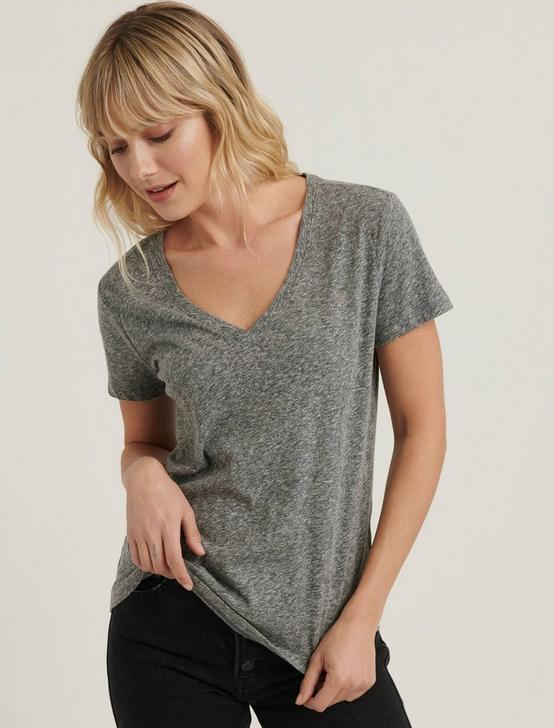 V-NECK SOLID TEE, HEATHER GREY, productTileDesktop