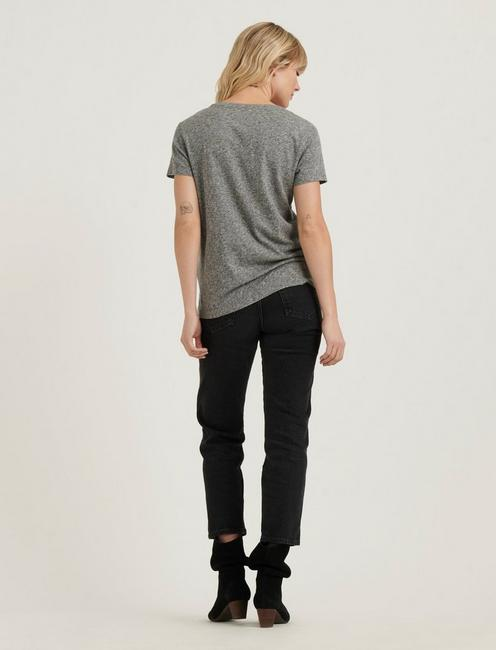 V-NECK SOLID TEE, HEATHER GREY