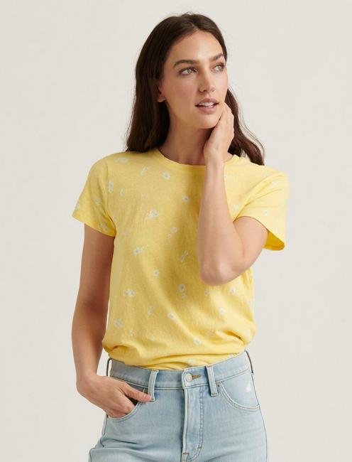 ESSENTIAL PRINTED CREW NECK TEE, YELLOW MULTI