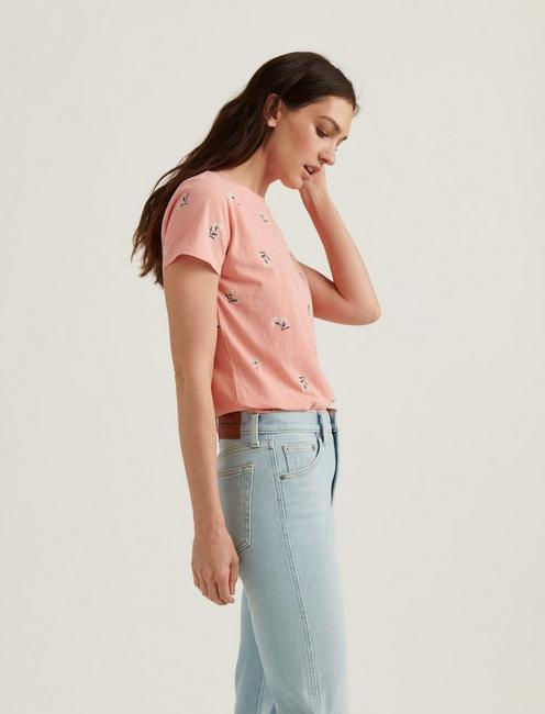 ESSENTIAL PRINTED CREW NECK TEE, CORAL MULTI