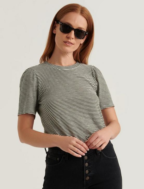 STRIPE PUFF SLEEVE TEE, OLIVE STRIPE, productTileDesktop