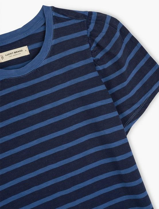 STRIPE PUFF SLEEVE TEE, INDIGO STRIPE, productTileDesktop