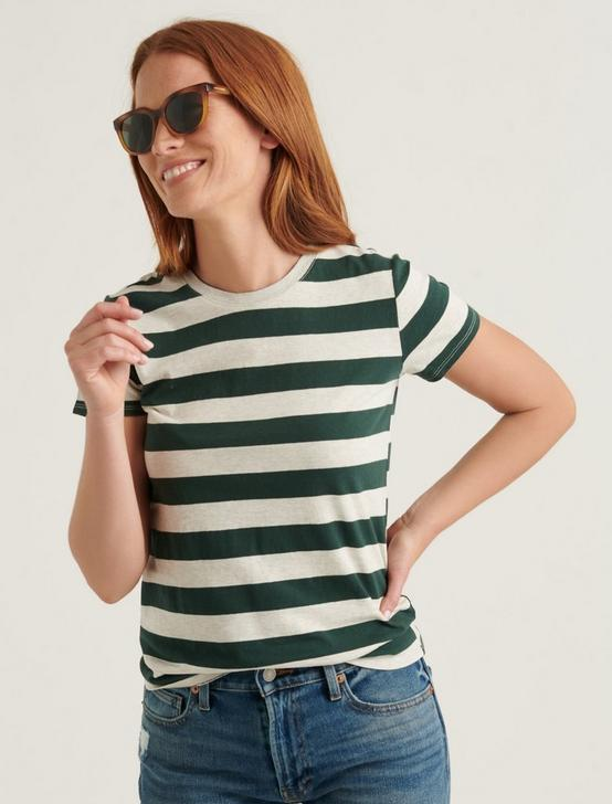ESSENTIAL STRIPE CREW NECK TEE, OATMEAL GREEN STRIPE, productTileDesktop
