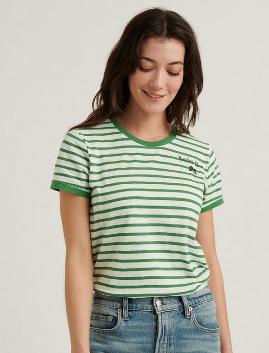 LUCKY YOU STRIPED SHORT SLEEVE TEE, GREEN MULTI, productTileDesktop