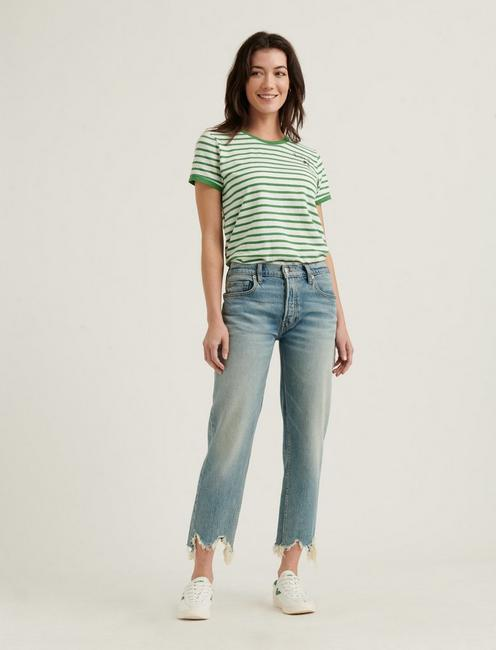 LUCKY YOU STRIPED SHORT SLEEVE TEE, GREEN MULTI