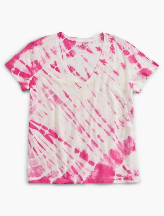 PRINTED ESSENTIAL V-NECK TEE, TIE DYE PINK, productTileDesktop
