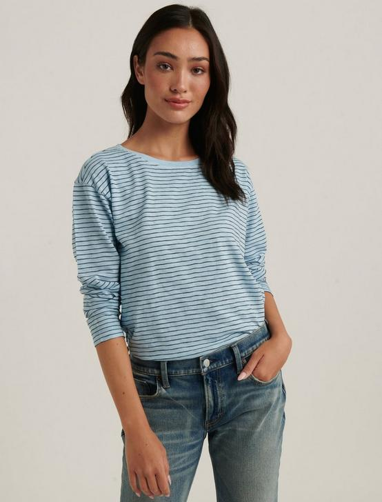 ESSENTIAL STRIPE LONG SLEEVE CREW NECK, BLUE MULTI, productTileDesktop
