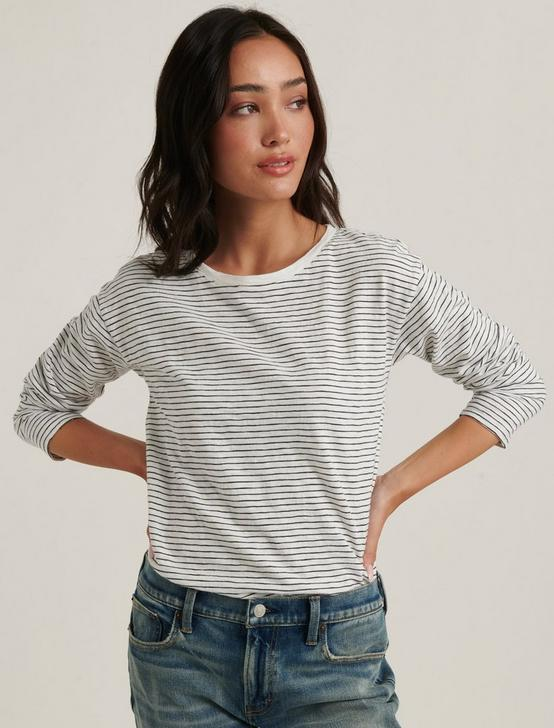 ESSENTIAL STRIPE LONG SLEEVE CREW NECK, WHITE BLACK STRIPE, productTileDesktop
