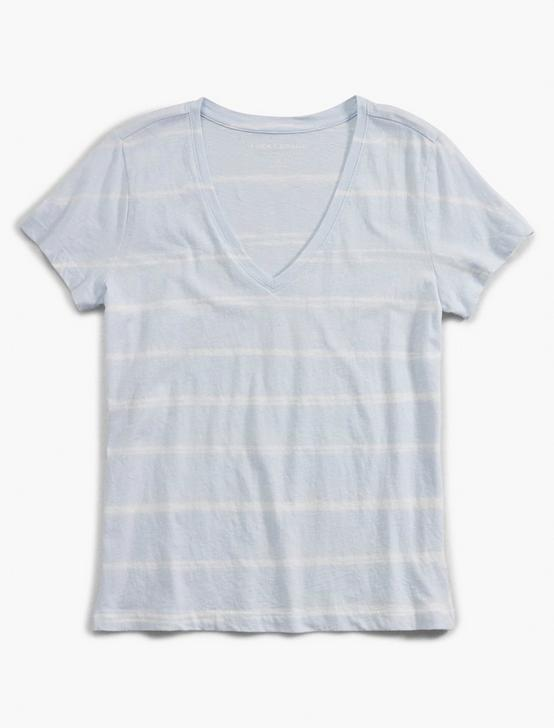 STRIPE ESSENTIAL V-NECK TEE, BLUE TIE DYE STRIPE, productTileDesktop