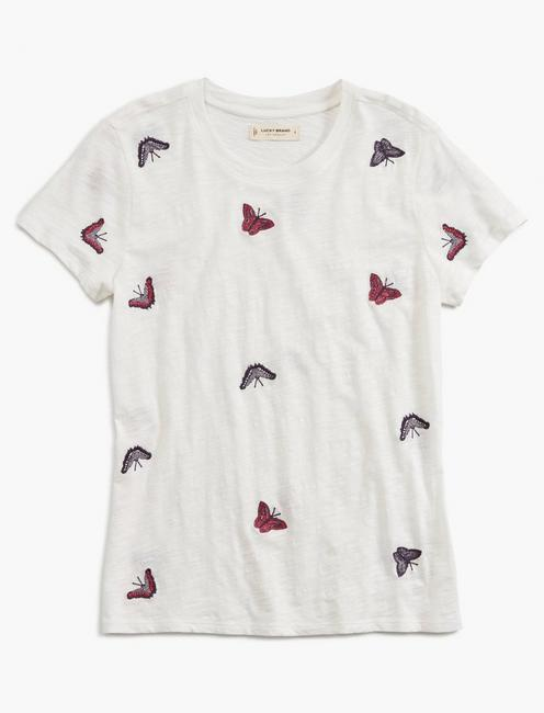 ALLOVER BUTTERFLY TEE, LUCKY WHITE