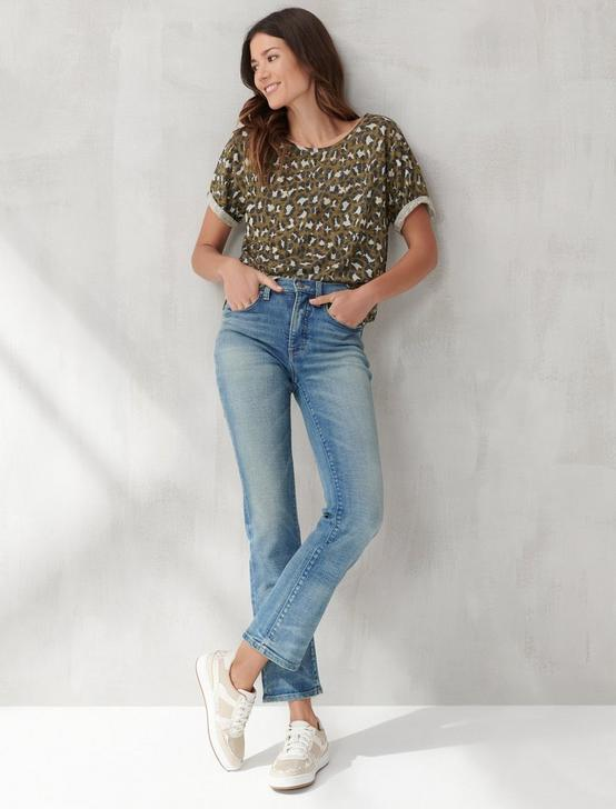 PRINTED ROLLED SLEEVE TEE, LEOPARD CAMO, productTileDesktop
