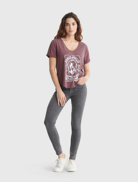 JANIS JOPLIN V NECK TEE, PORT ROYALE, productTileDesktop