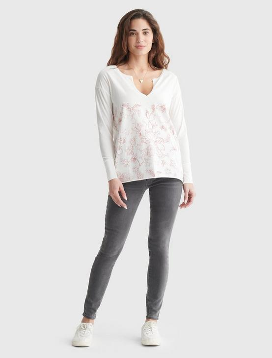 FLORAL-PRINT SPLIT NECK TOP, MARSHMALLOW, productTileDesktop
