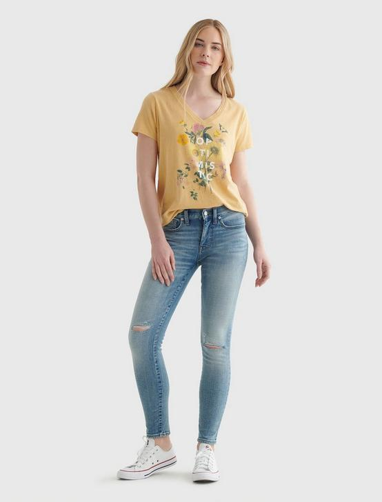 FLORAL OPTIMISTIC GRAPHIC V-NECK TEE, OCHRE, productTileDesktop