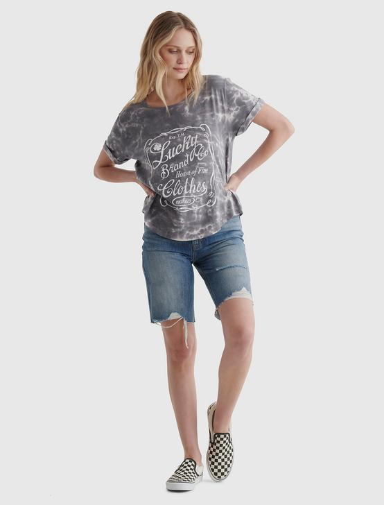 LOGO LABEL GRAPHIC ROLLED SLEEVE TEE, GREY MULTI, productTileDesktop