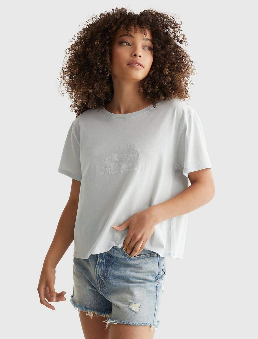 EMBROIDERED MIS FLORAL CROP TEE, image 1
