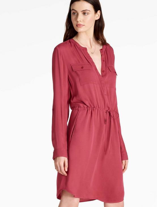 WAISTED SHIRT DRESS, EARTH RED, productTileDesktop