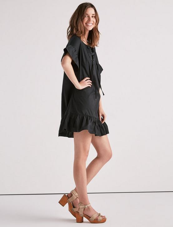 LACE UP DRESS, 001 LUCKY BLACK, productTileDesktop