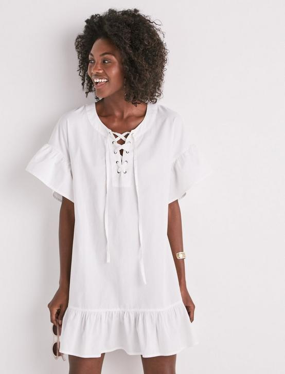LACE UP DRESS, LUCKY WHITE, productTileDesktop