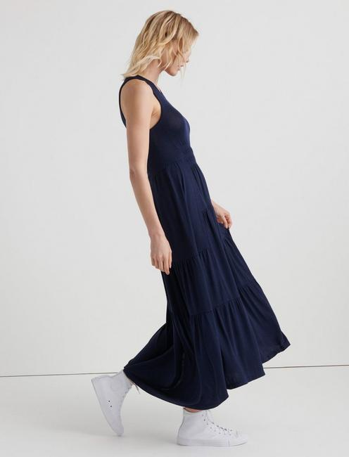 RUCHED MAXI DRESS, AMERICAN NAVY