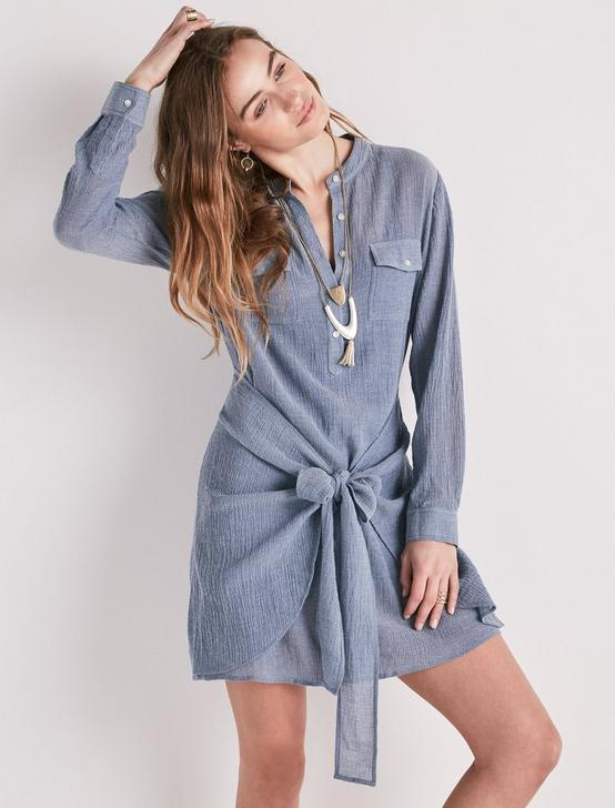 CHAMBRAY TIE WAIST DRESS, #458 BLUE, productTileDesktop