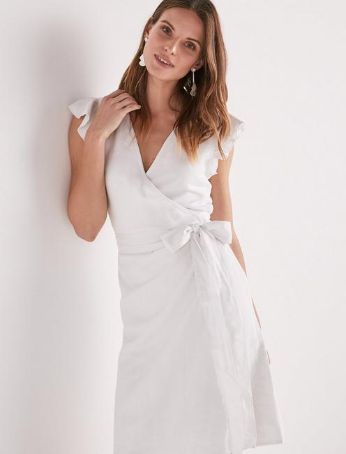 WRAP RUFFLE DRESS, LUCKY WHITE
