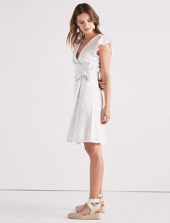 WRAP RUFFLE DRESS, LUCKY WHITE, productTileDesktop