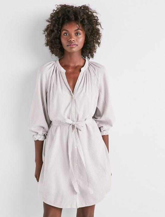 STRIPE PEASANT DRESS, GREY MULTI, productTileDesktop