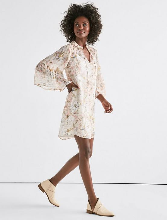 PRINTED BELL SLEEVE DRESS, NATURAL MULTI, productTileDesktop