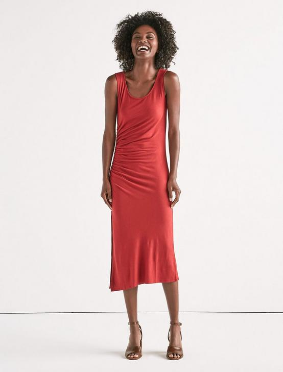 RUCHED TANK DRESS, 636 RED, productTileDesktop